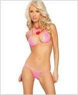 Roma Skimpy Sheer Rectangle Bikini Top And Thong RC-2856