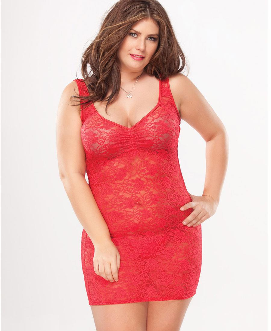 Stretch lace tank top chemise with gathers at bust plus size