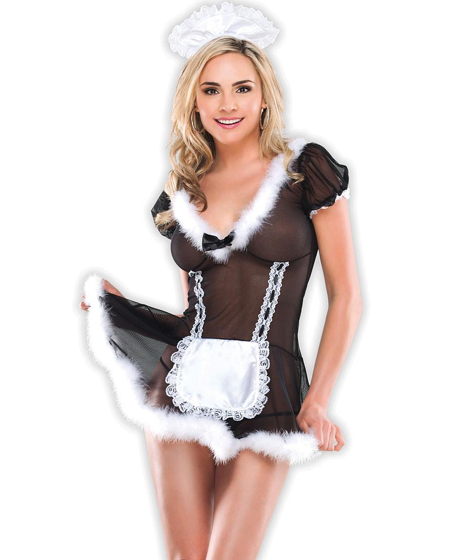 French Maid Bedroom Costume Includes Mesh Chemise With