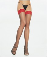 Leg Avenue� Sheer Thigh Highs With Red Lace Top LA-1012
