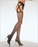 Leg Avenue® Criss Cross Fishnet Garter Belt Stockings LA-1655
