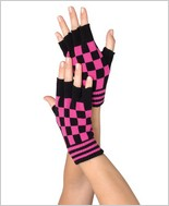 Leg Avenue® Acrylic Checkerboard Fingerless Gloves LA-2054