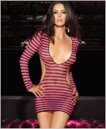 Leg Avenue Striped Fishnet Mini Dress LA-28037