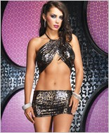 Leg Avenue Leopard Foil Slinky Halter Dress LA-28063