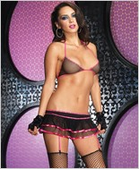 Leg Avenue Fishnet Bikini Top And Garter Skirt LA-28066-Pink