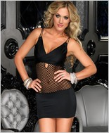 Mini Dress With Net Center Panel LA-28080