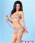 Net Rainbow Bikini Top, G-String And Mini Skirt Set LA-81444