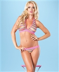 Net Rainbow Striped Halter Bra Top And Brazilian Panty LA-81445