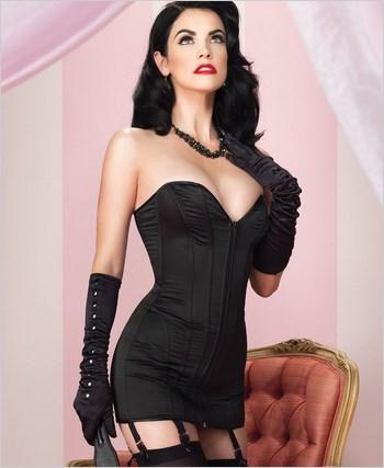 retro satin corset dress la86562