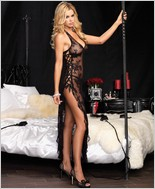 Leg Avenue� Spanish Rose Lace Long Dress And G-String LA-88009