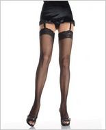 Leg Avenue® Fishnet Thigh Highs With Stretch Lace Top LA-9023