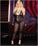 Plus Size Floral Lace Footless Bodystocking ML-1098Q