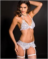 Sequined Bra, Garter Belt And Thong Set ML-52039