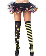 Stars And Stripes Neon Yellow Stockings La-6319-Yellow
