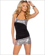Roma Sequin And Slinky Halter Dress RC-2875SQ