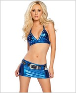 Roma Metallic Skirt And Halter Top RC-2877LQS